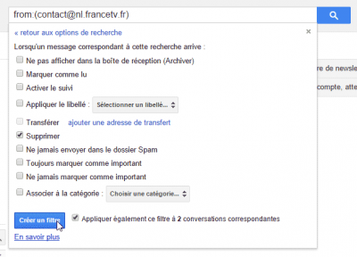 Gmail - Supprimer le message