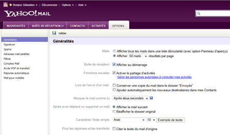 Options Yahoo! Mail