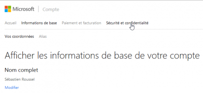 Options du conte Outlook.com / Hotmail