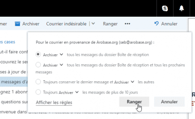 Outlook.com - Fonction Ranger