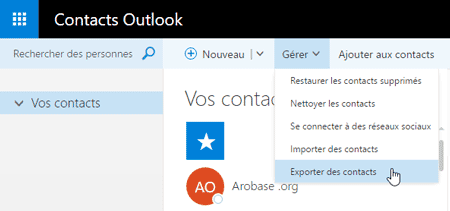 Exporter les contacts Outlook.com