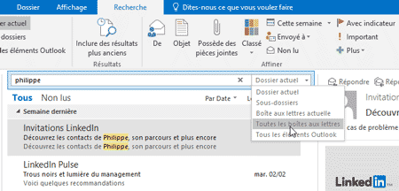Filtres de messages Outlook