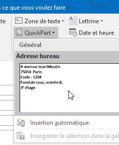 QuickPart Outlook