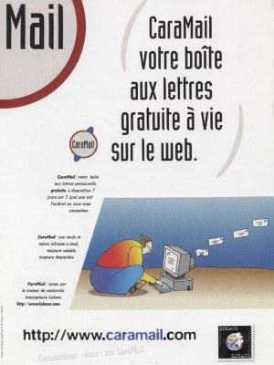 Publicité pour Caramail en 1997. Le service était alors édité par Lokace.