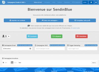 SendinBlue - Tableau de bord
