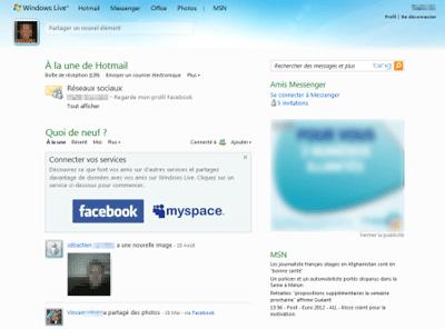 La page d'accueil de Hotmail