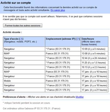 Activité sur ce compte Gmail