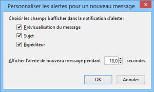 Personnaliser les alertes pour un nouveau message