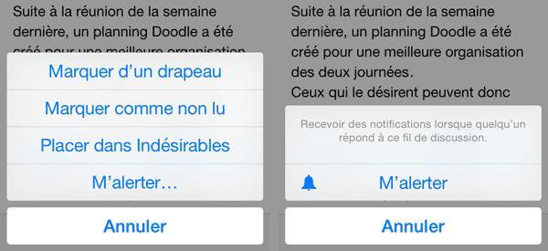 Alertes Mail iOS8