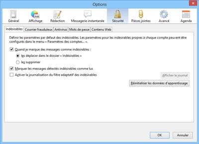 Réglages antispam