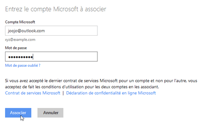 Associer un identifiant Windows Live ID