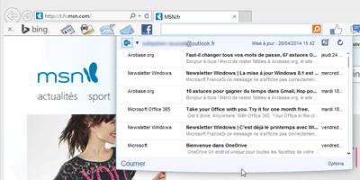 Aperçu Mail Bing Toolbar