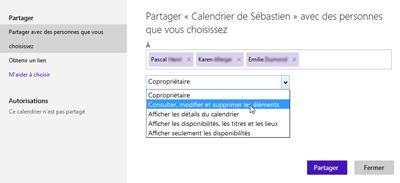 Paramètres de partage de calendrier