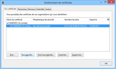 Gestionnaire de certificats