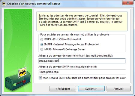 Serveurs POP, IMAP et SMTP
