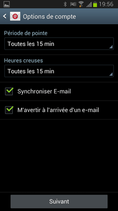 Options de synchronisation