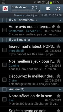 Boîte de réception Android