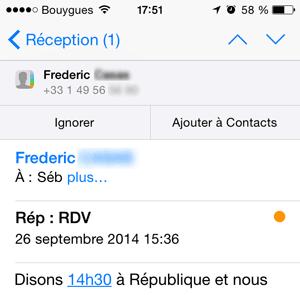 Ajout d'un contact iOS 8