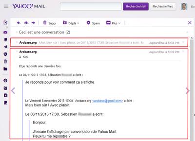 Conversation dans Yahoo Mail