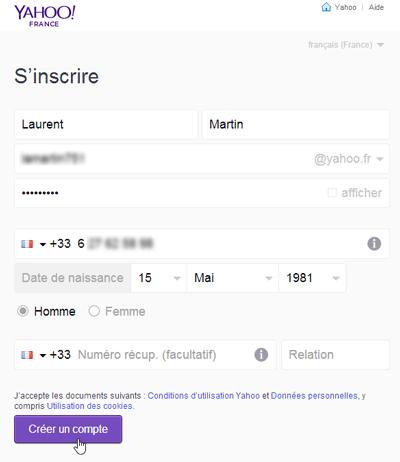 S'inscrire à Yahoo Mail