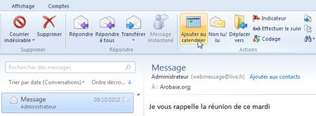 Convertir e-mail en événement