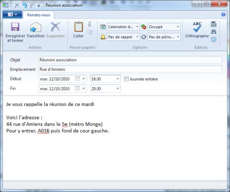 Transformer un e-mail en rendez-vous dans Windows Live Mail