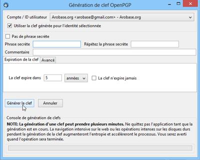 Génération de clef OpenPGP