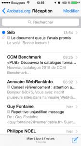 Liste des messages iOS - pièces jointe