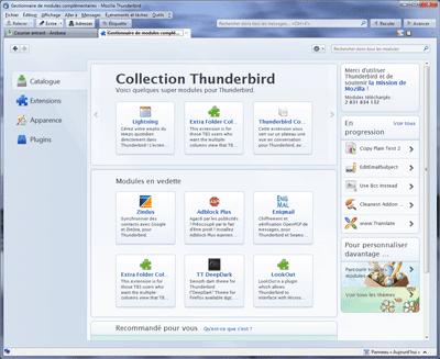 Catalogue extensions Thunderbird