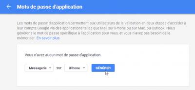 Générer un mot de passe d'application Gmail