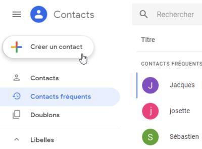 Créer un contact Gmail