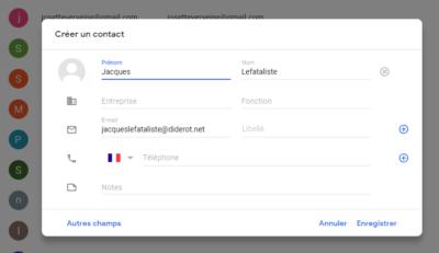 Coordonnées du contact Gmail