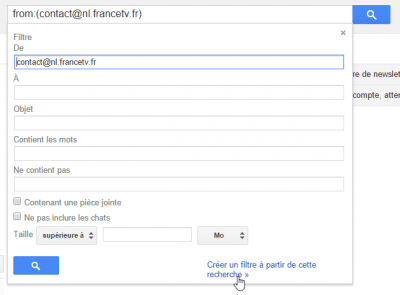 Gmail - options de recherche