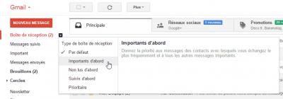 Gmail - Boîte de réception Importants d'abord