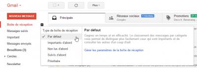 Choix de la boîte de réception Gmail