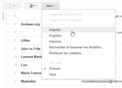 Importer contacts Gmail