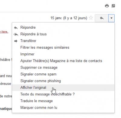 Gmail - Afficher l'original
