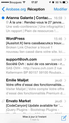 Mail iOS - boîte de réception