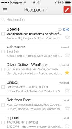 Boîte de récpetion Gmail - iOS