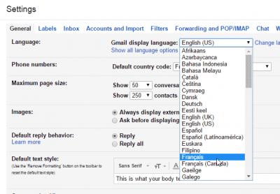 Gmail - langue française