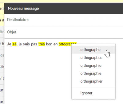 Gmail - correction orthographique