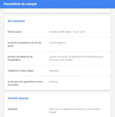 Gmail - options de récupération du mot de passe