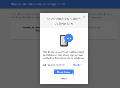 Numéro de téléphone de récupération