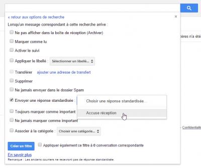Réponses standardisées dans filtres Gmail