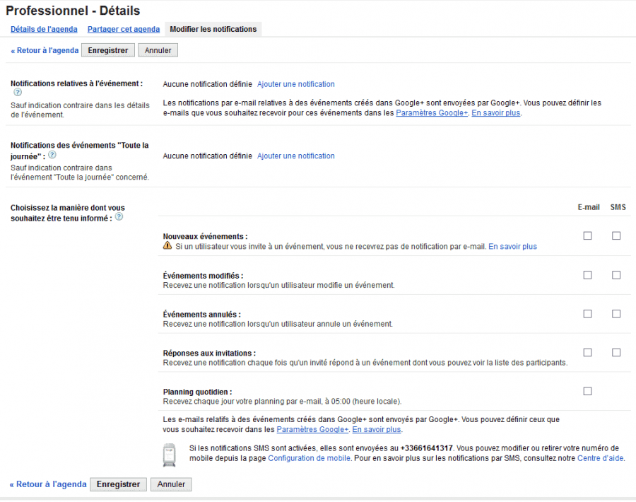 Notifications Google Agenda