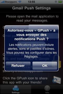 Autorisation de notifications GPush