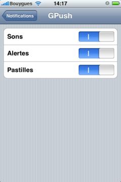 Réglages notifications GPush