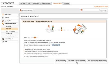 Sélection du fichier CSV