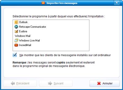 Sélection du logiciel de messagerie