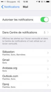 Réglages notifications